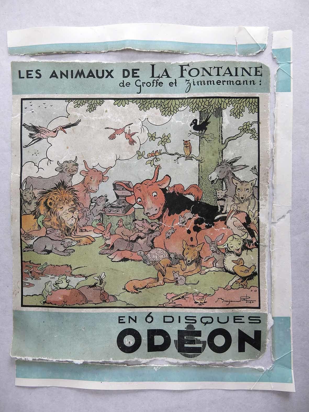 BENJAMIN RABIER ILLUSTRE UN ALBUM DE 6 DISQUES ODEON - LES ANIMAUX DE LA FONTAINE