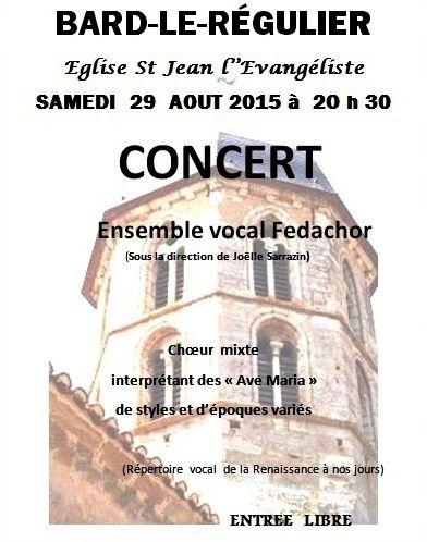 Concert à Bard-le-Régulier samedi 29 août 2015 à 20h30