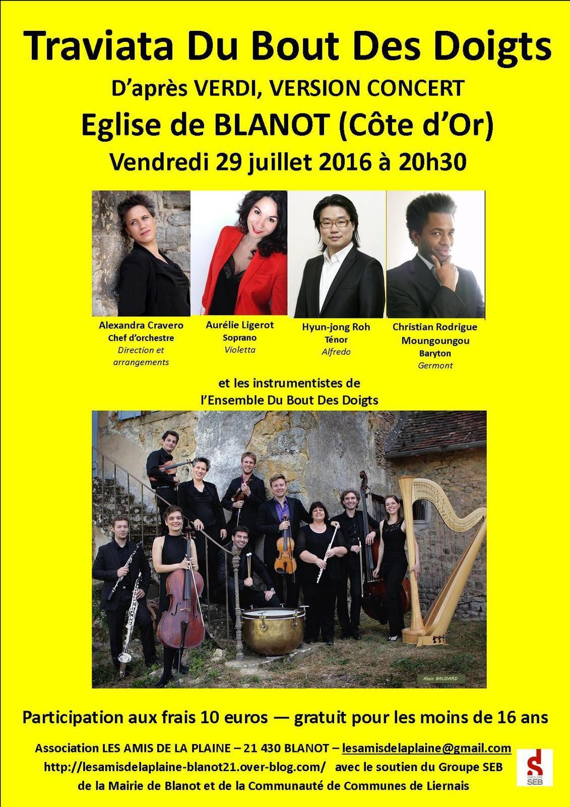 « Traviata Du Bout Des Doigts » en version concert vendredi 29 juillet 2016 à BLANOT (Côte d'Or)