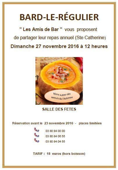 Un repas à Bard-le-Régulier dimanche 27 novembre à 12h