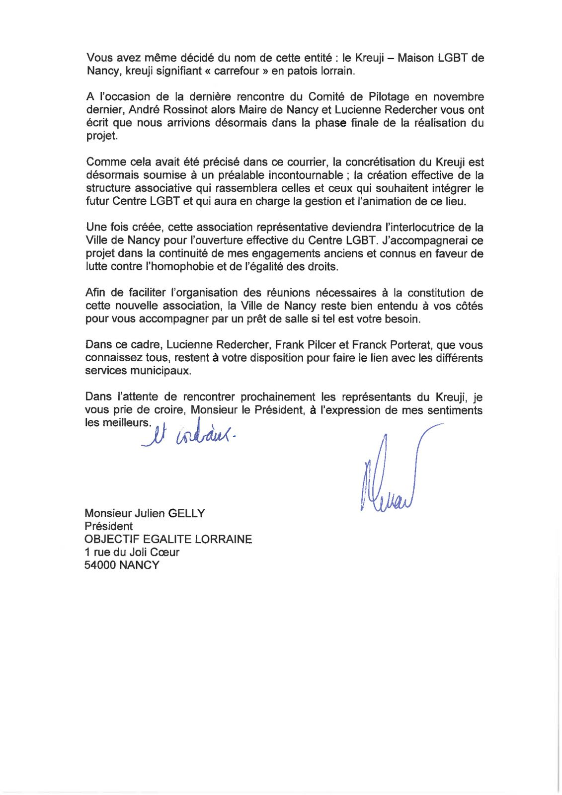Le Kreuji - Maison LGBT de Nancy : courrier du Maire de Nancy