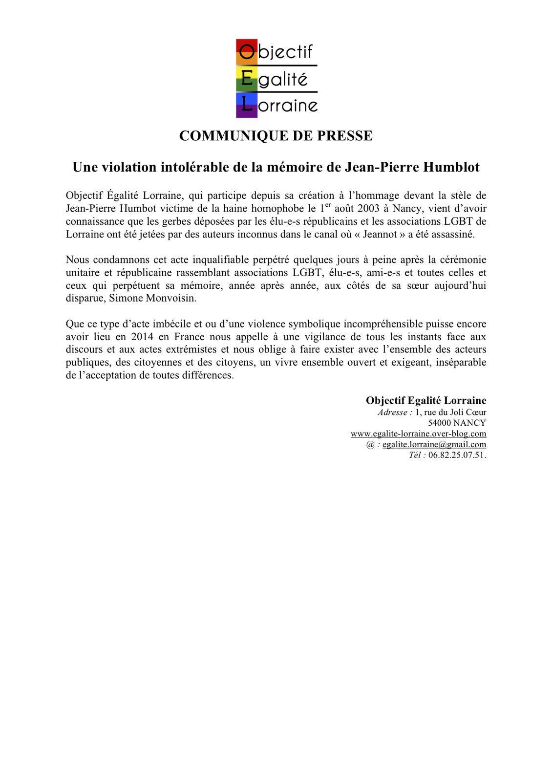 Une violation intolérable de la mémoire de Jean-Pierre Humblot