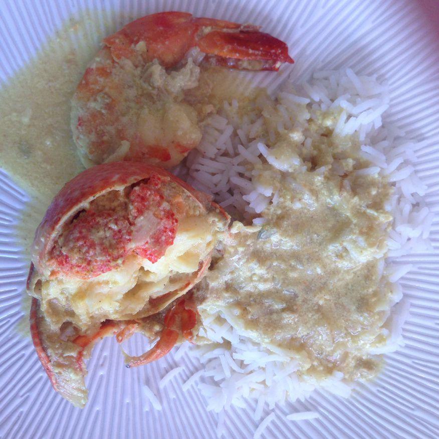 Curry de homard et gambas au curry et lait de coco