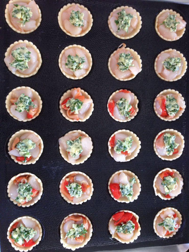 Tartelettes saint-Jacques beurre persillé