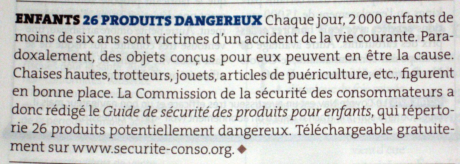 Sécurité - rappel des produits dangereux ... et +