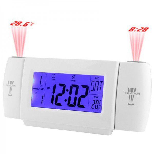 Réveil thermomètre avec double projecteur, fun et pratique de couleur blanche