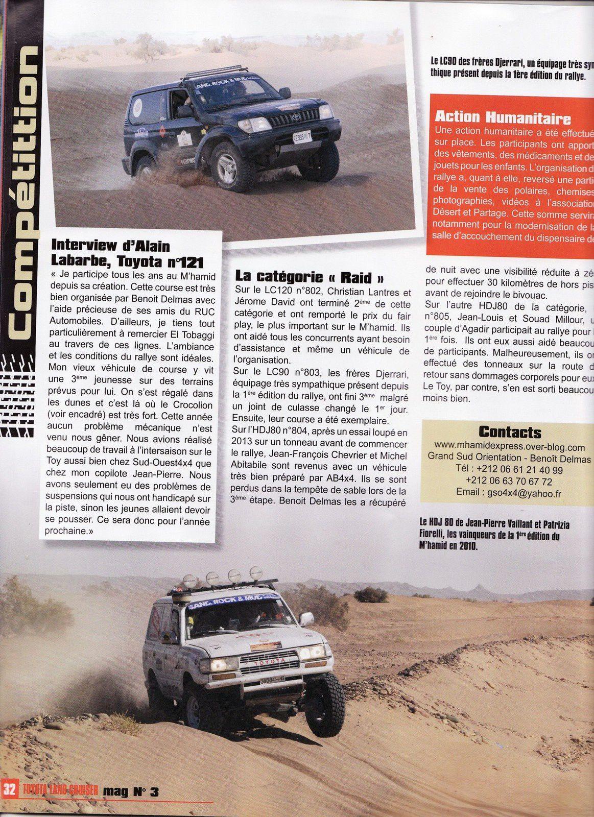 TLC n°3 nous offre un beau reportage, le rallye raid maroc M'hamid Express encore à l'honneur