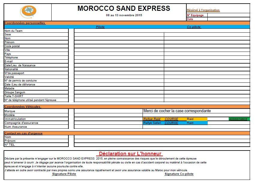 La fiche d'inscription du Morocco Sand Express 2015 et une petite explication sur les différentes catégories