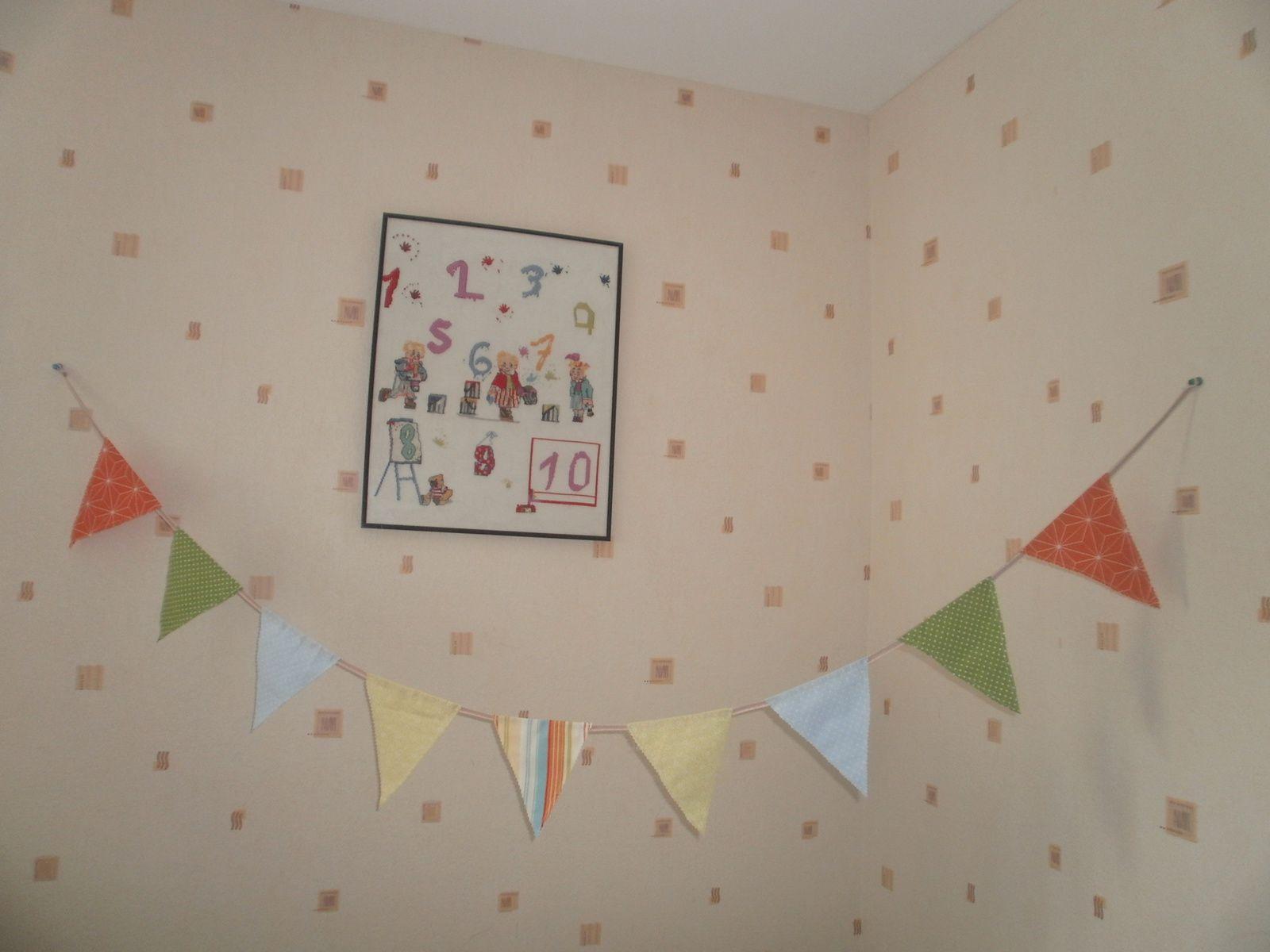 Voici la guirlande  dans la chambre de mon futur bébé