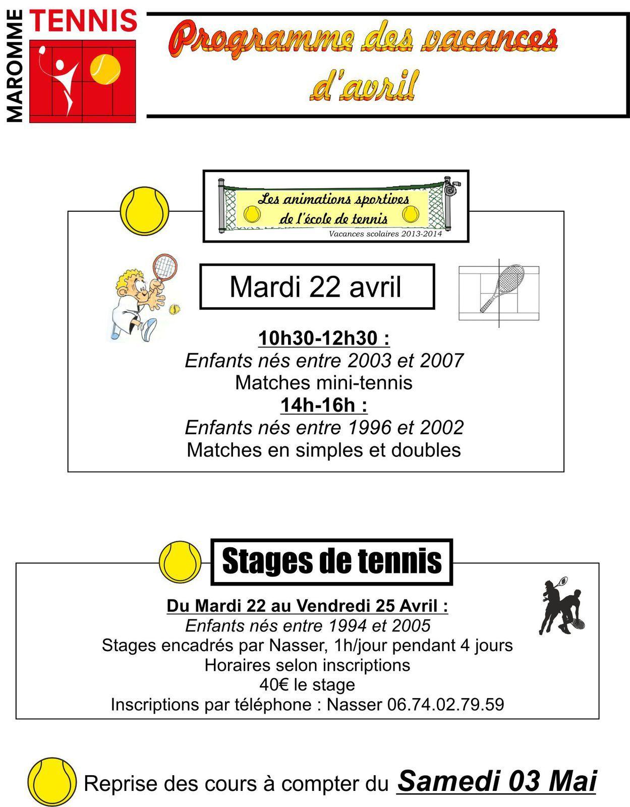 Programme des vacances d'avril