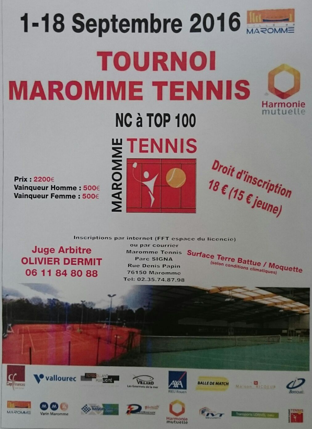 Tournoi open septembre 2016