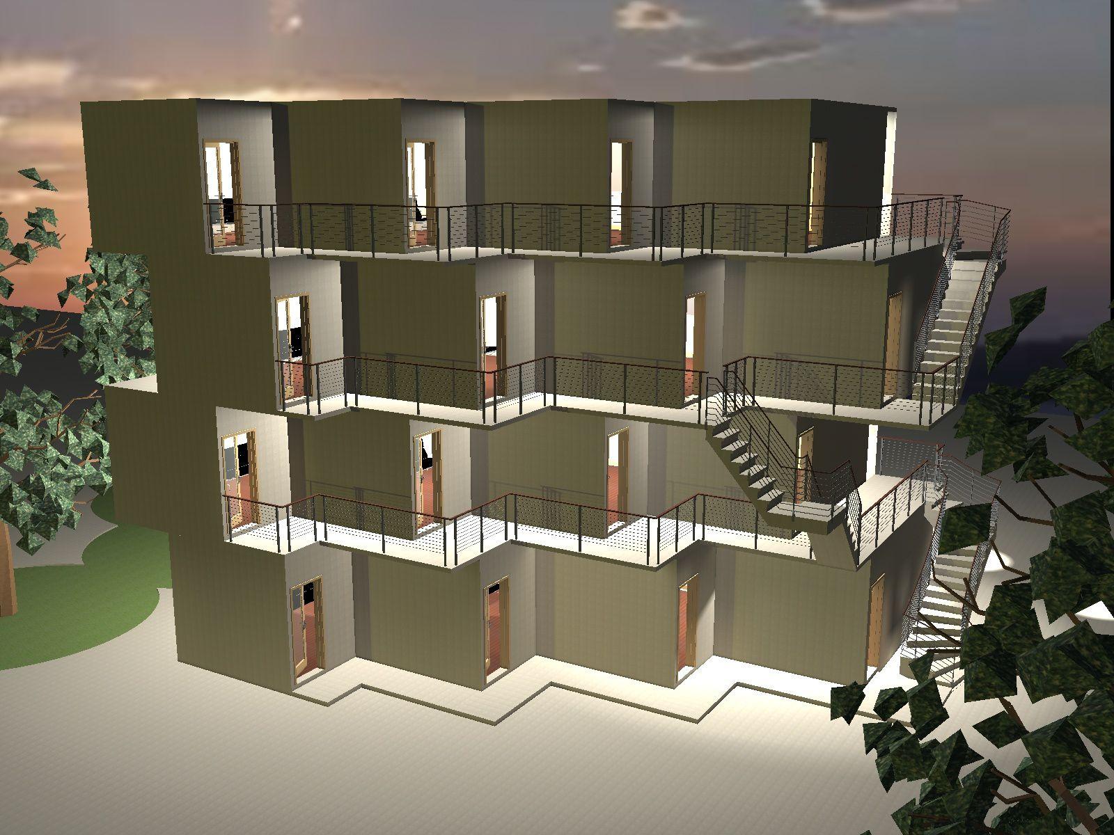 etude projet de 16 logement etudiants courbevoie 92400. Black Bedroom Furniture Sets. Home Design Ideas