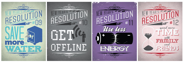 "Billet illustré par ""New Year's Resolution posters"" © Viktor Hertz - www.viktorhertz.com"