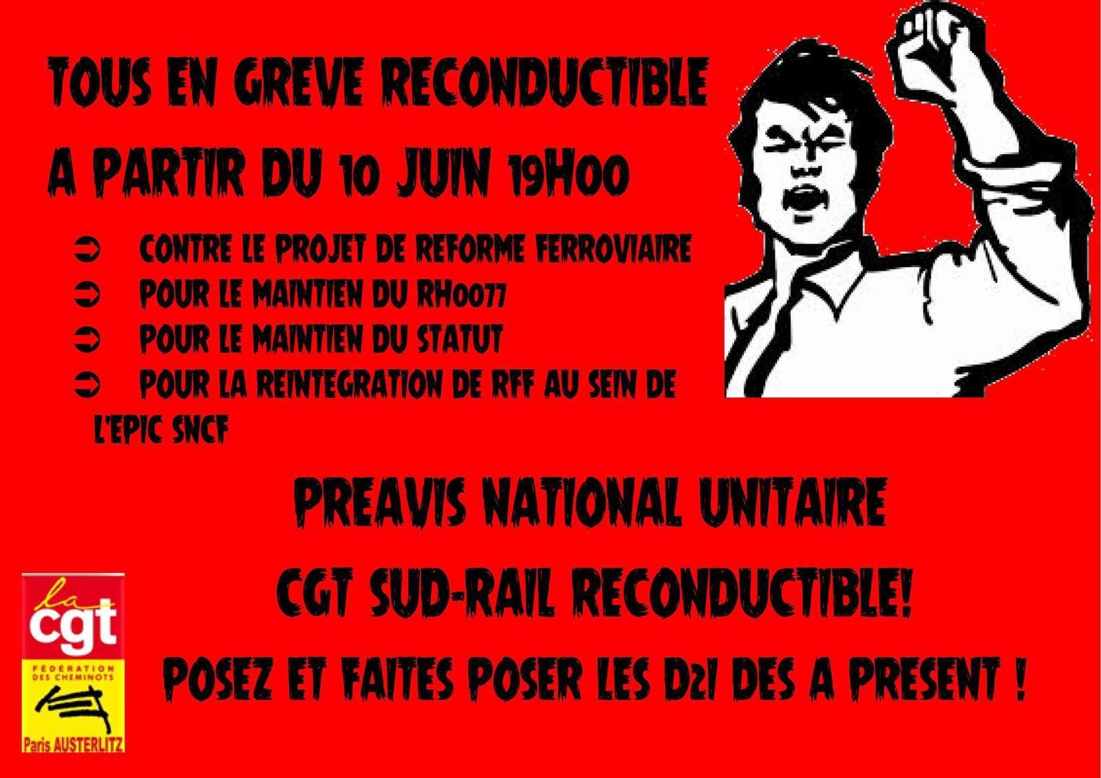 Cheminots juin 2014, appel à la grève