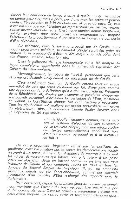 ERRATUM à  &quot&#x3B;Un texte historique : ce que disait le Parti Communiste Français de l'élection présidentielle en 1962.&quot&#x3B;