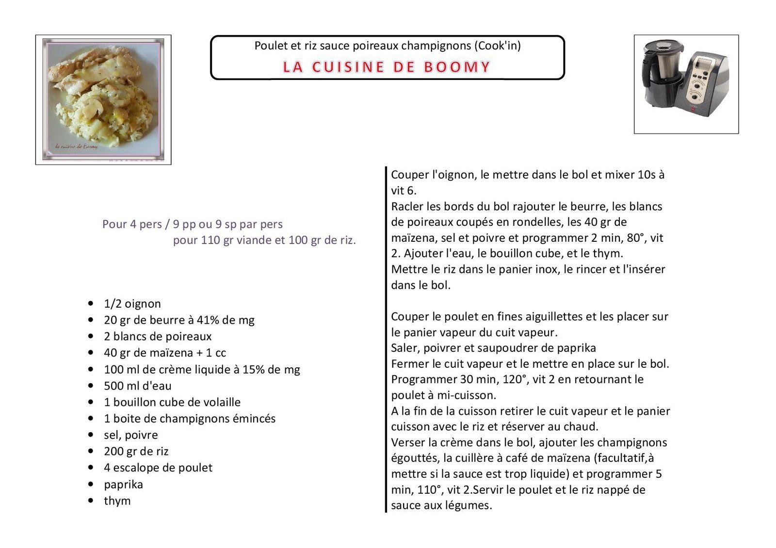 Poulet et riz sauce poireaux champignons (Cook'in)