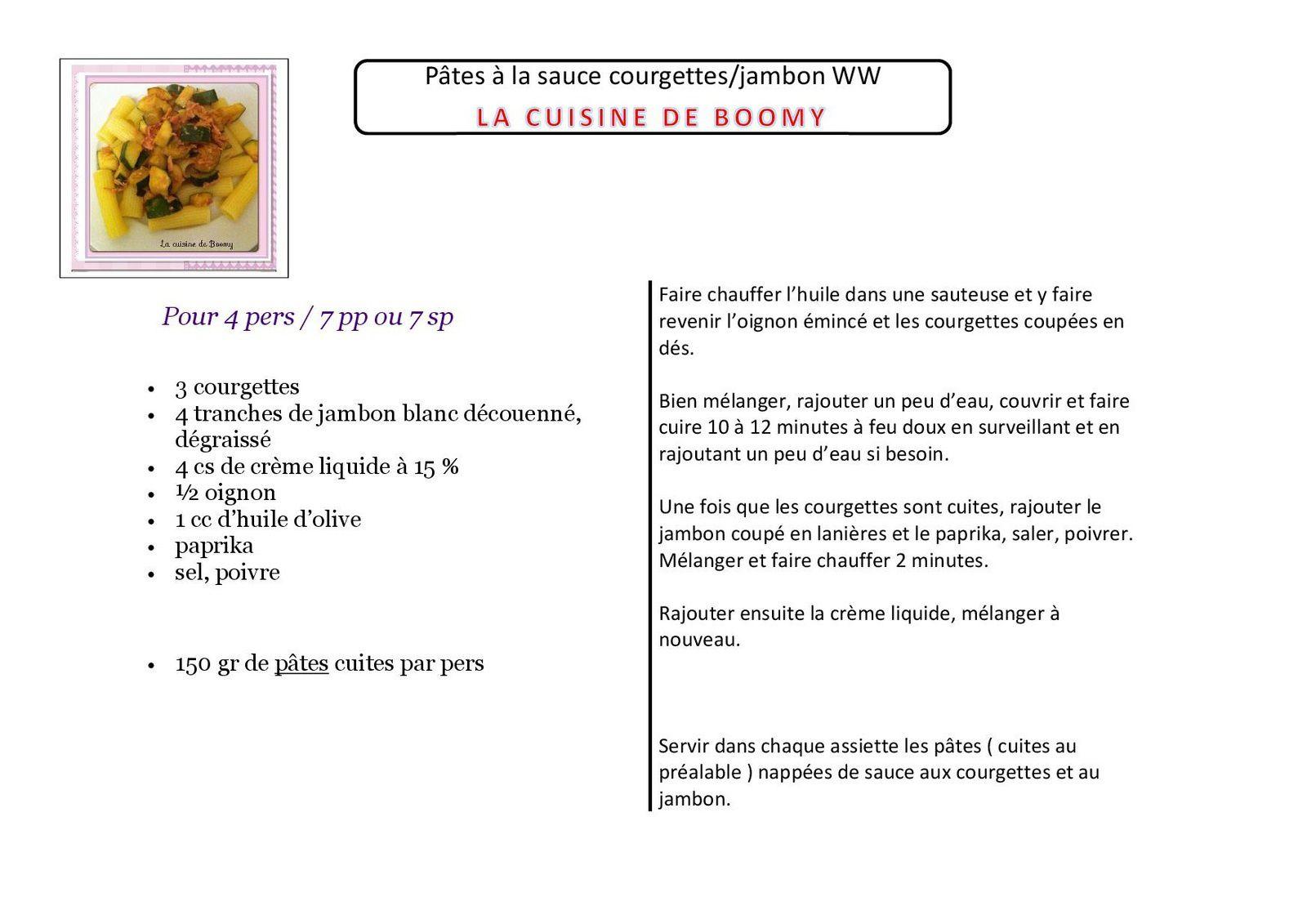 Pâtes à la sauce courgettes/jambon WW