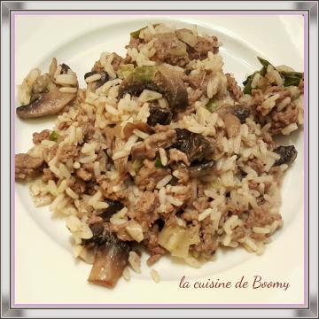 Poêlée de riz aux légumes et au boeuf haché WW