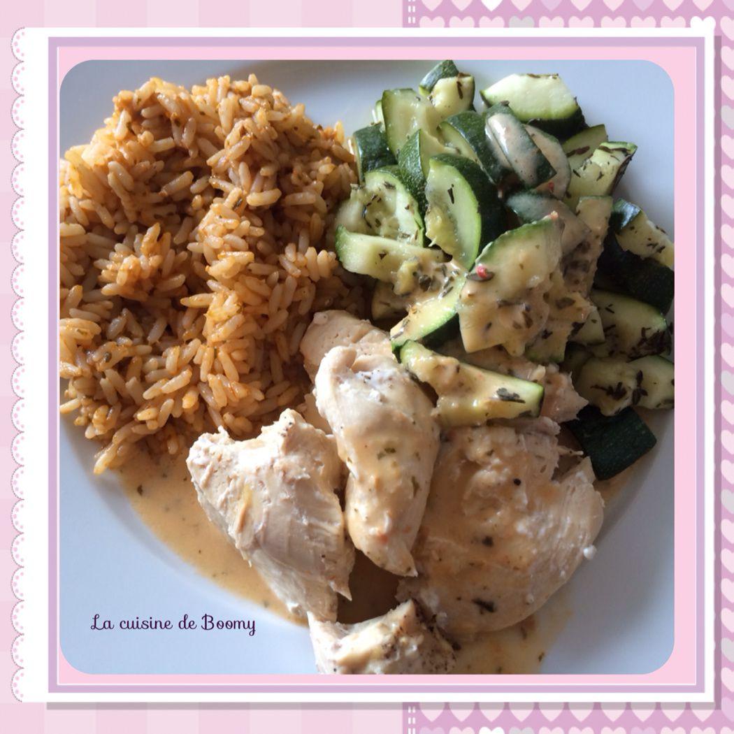 Poulet aux courgettes et son riz au pesto, sauce pesto au chavroux au Cook'in WW