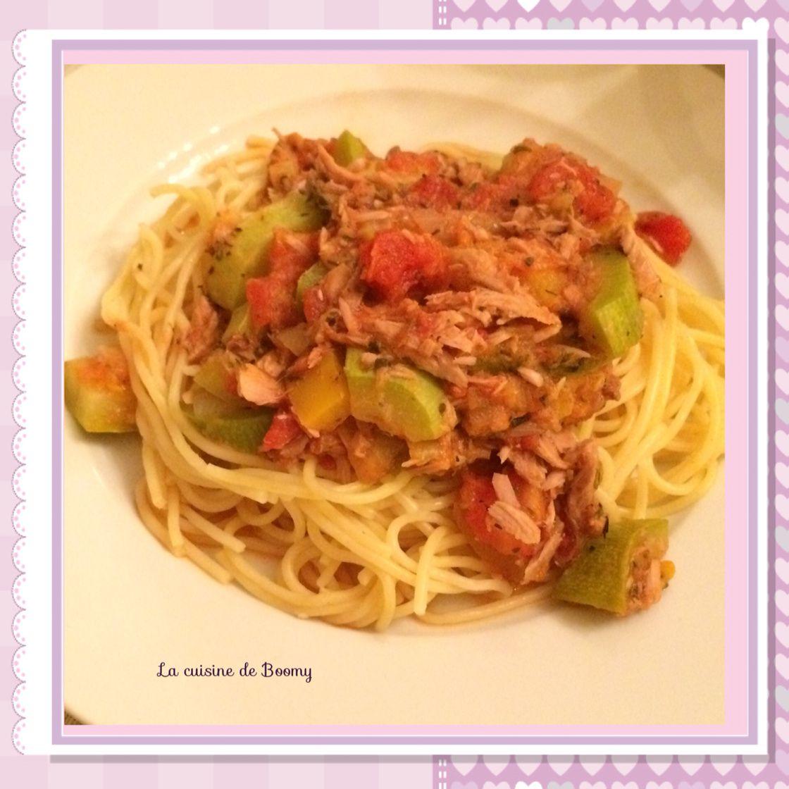spaghetti au thon et aux l gumes ww la cuisine de boomy. Black Bedroom Furniture Sets. Home Design Ideas