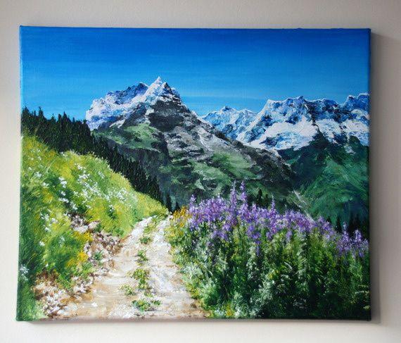 """""""L'étape"""" - peinture acrylique sur toile enduite en format 8F (46*38 cm)"""