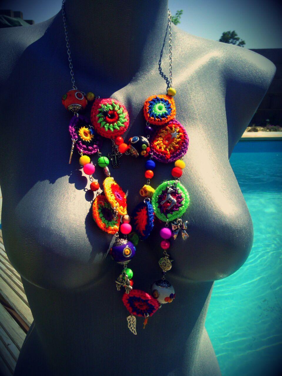 collier bôhème inspiré du modèlé paru dans le livre crochet Bohême de Cécile Balladino