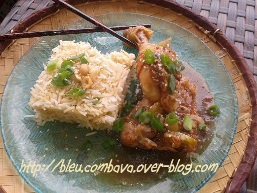 Poulet au Tamarin (Chine) et son Riz Frit au Sésame et Oignons Verts