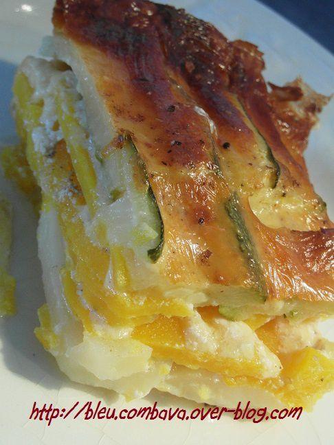 Gratin Pommes de Terre, Courge Butternut et Courgettes à la Mozzarella