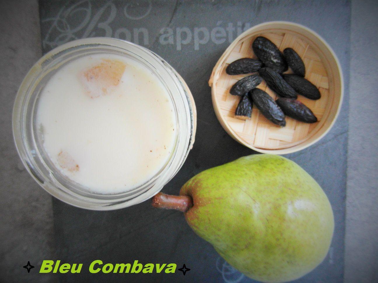 Crème de Yaourt au Lait Concentré, Poires Confites et Fève Tonka