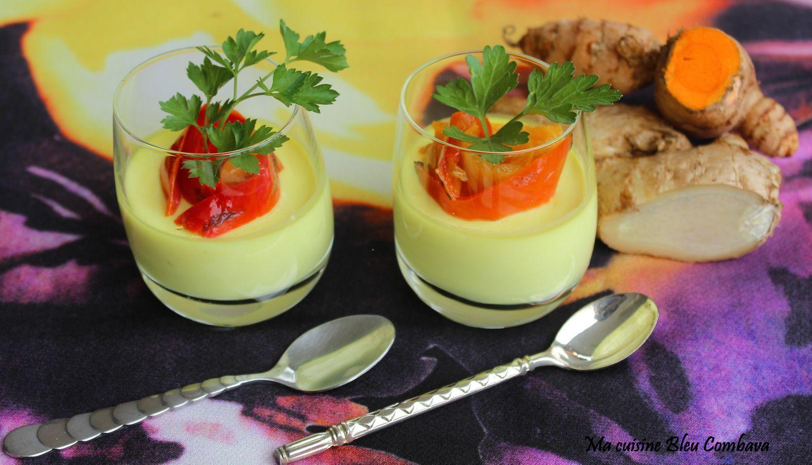 Panna Cotta salée au Fromage de Chèvre épicée au Curcuma et Gingembre frais, topping Poivron