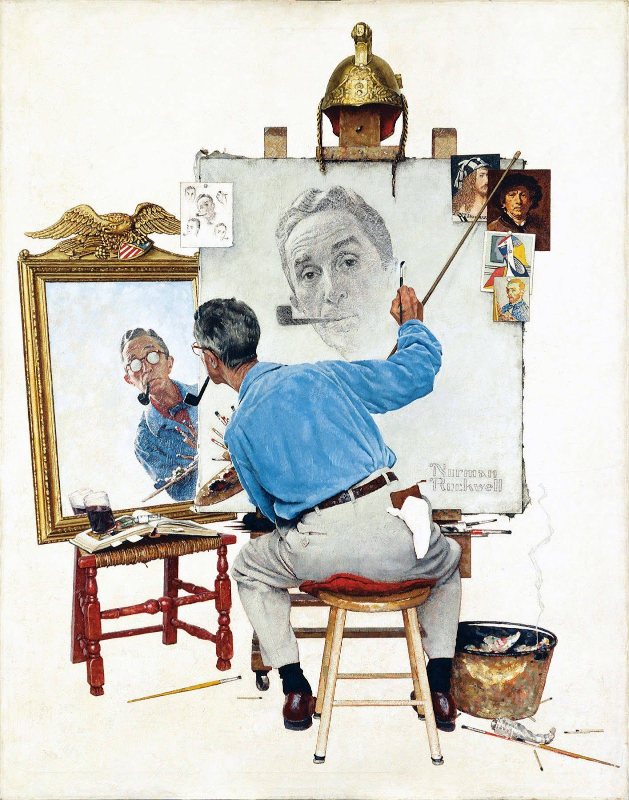 Norman Rockwell - Triple Self Portrait - 1960