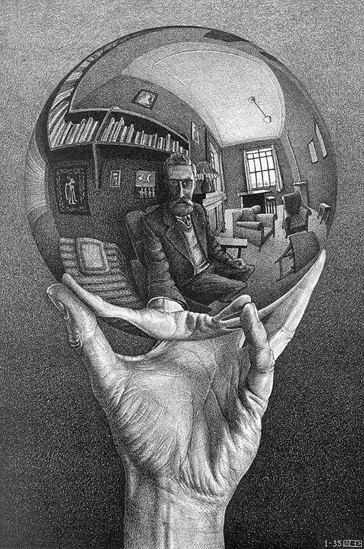 Autoportrait   - M.C. ESCHER (graveur hollandais.1898-1972-