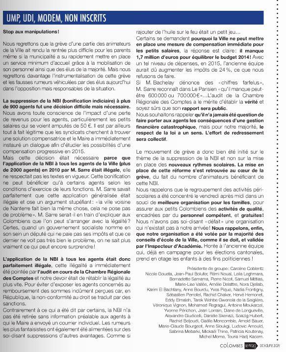 COLOMBES DÉCRYPTAGE : Manipulation du consortium UMP , UDI , MODEM sur la motivation de la grève des animateurs