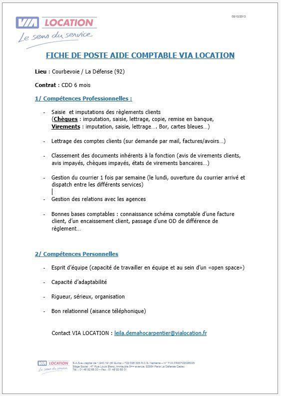 urgent offre d u0026 39 emploi   courbevoie - aide comptable cdd 6 mois