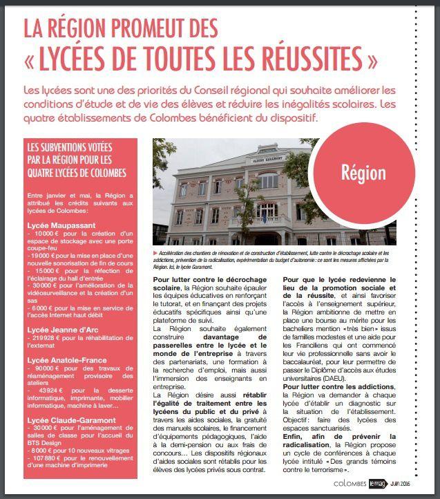 COLOMBES : LE CONSEIL RÉGIONAL D'IDR (LR) SUBVENTIONNE LE PRIVE AU DÉTRIMENT DU PUBLIC !