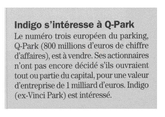 Q-Park est à vendre, donc Colombes est également à vendre  !