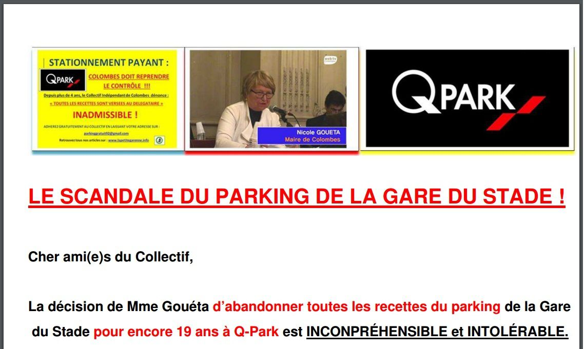 COLOMBES : LE SCANDALE DU PARKING DE LA GARE DU STADE !