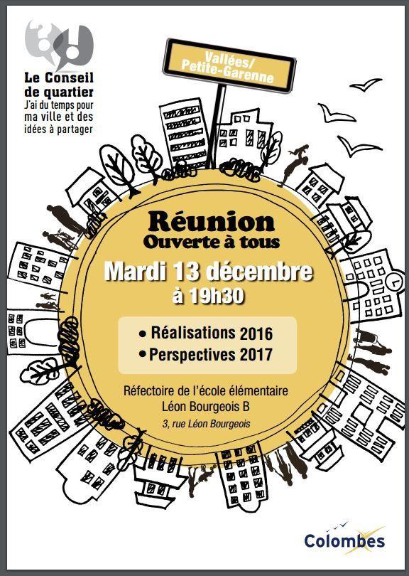 Colombes : Conseil de quartier Mardi 13 décembre 19h30 à l'école Léon Bourgeois B - ouvert à toutes et tous