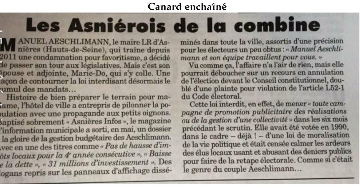 Législative : vers un recours en annulation de l'élection sur la circo 2 Asnières Colombes SUD contre la candidate LR Marie-Do AESCHLIMANN