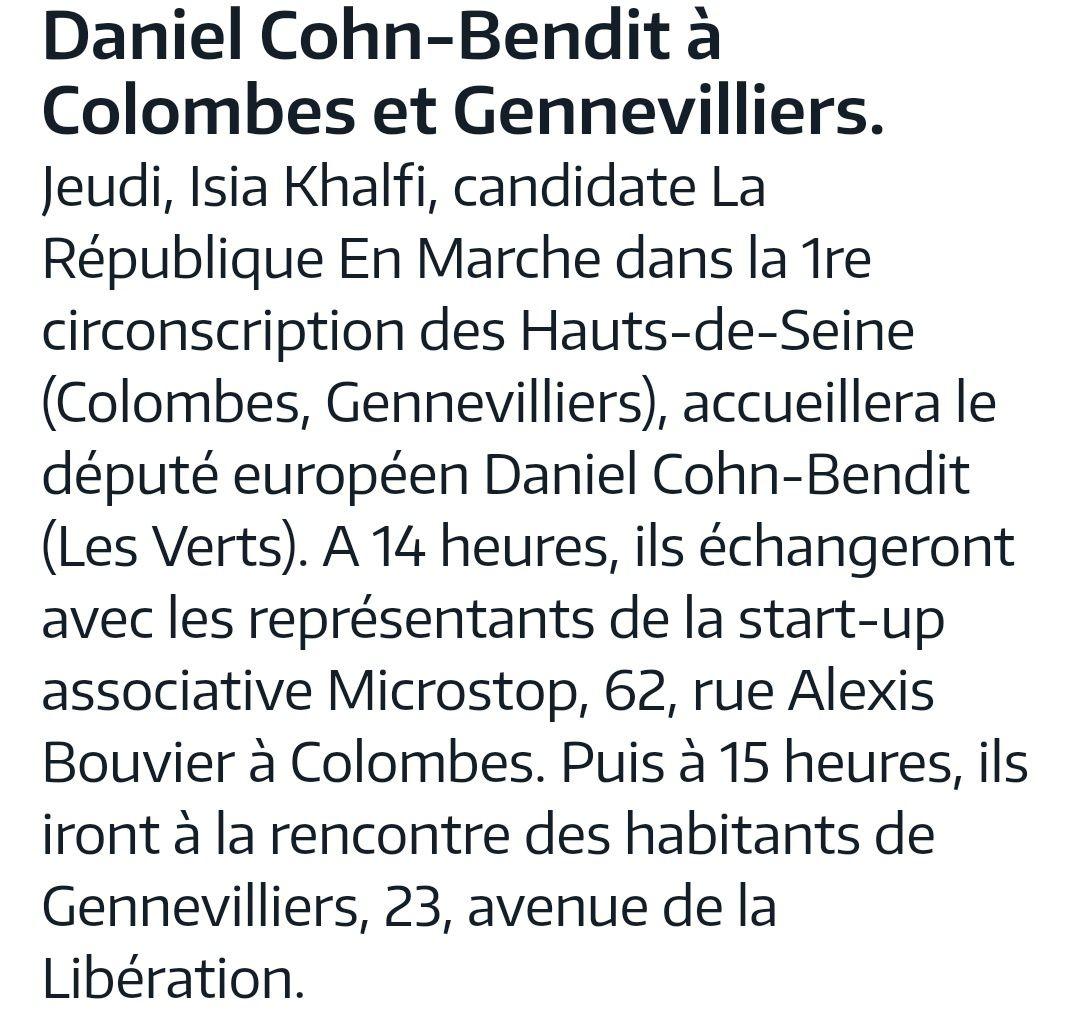 """Daniel Cohn - Bendit à colombes et gennevilliers pour soutenir la candidate """"en Marche"""" : Isia KHALFI"""