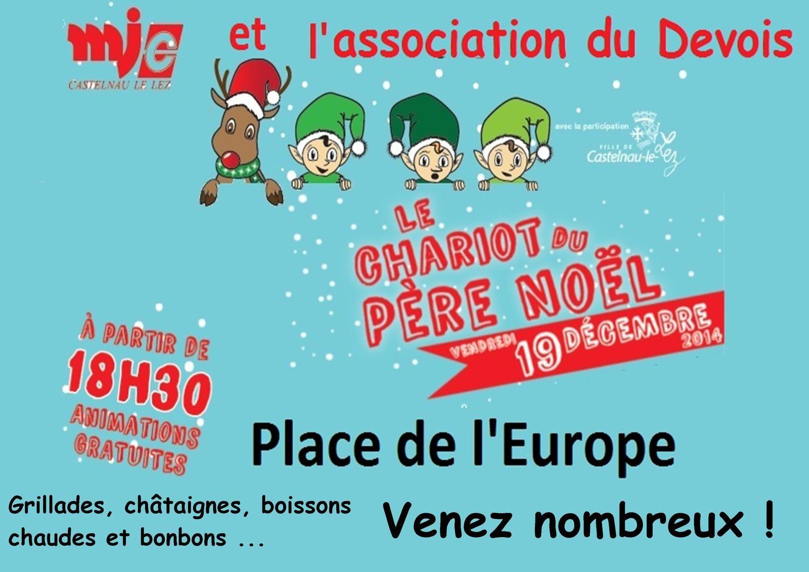 Le chariot du Père Noël à Castelnau le Lez