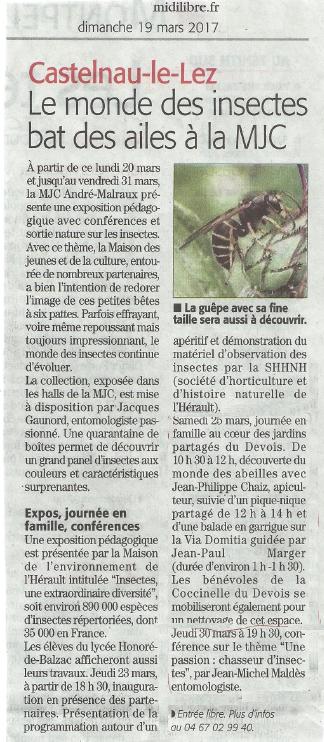 Les insectes du Devois - Article Midi Libre