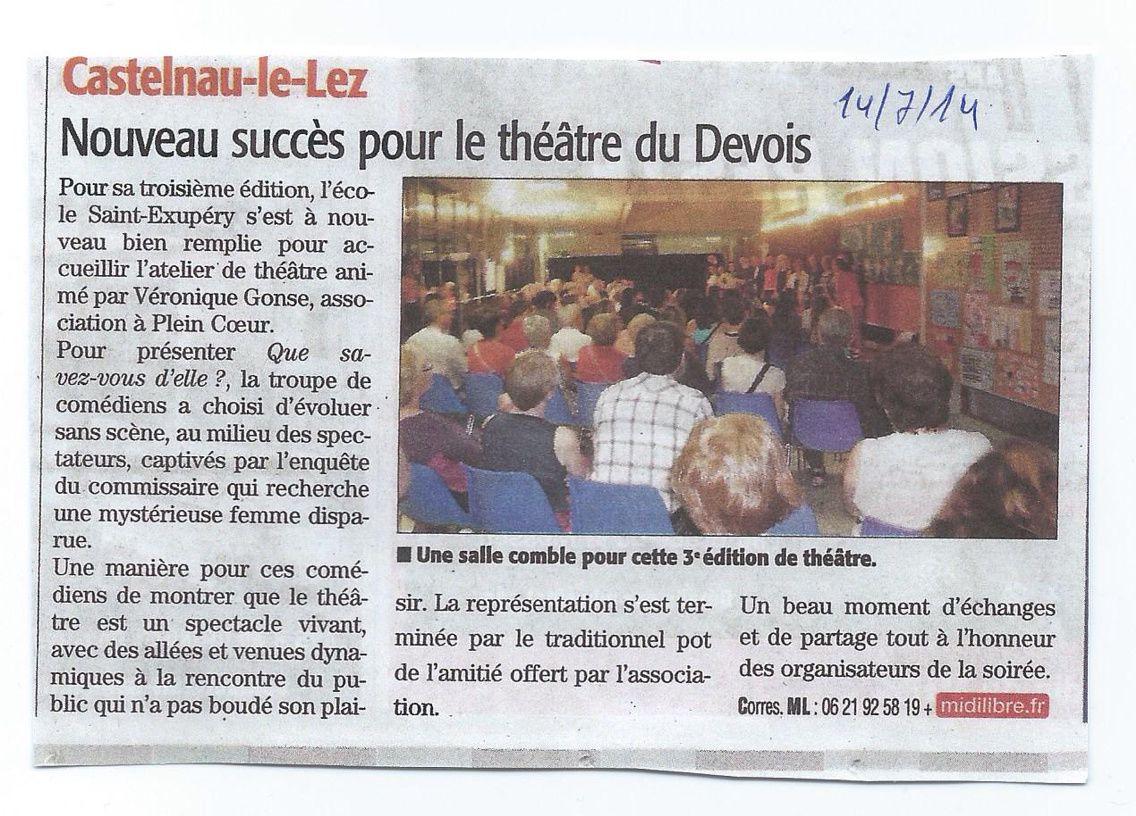 Théâtre au Devois-Extrait Midi Libre du 14/07/2014
