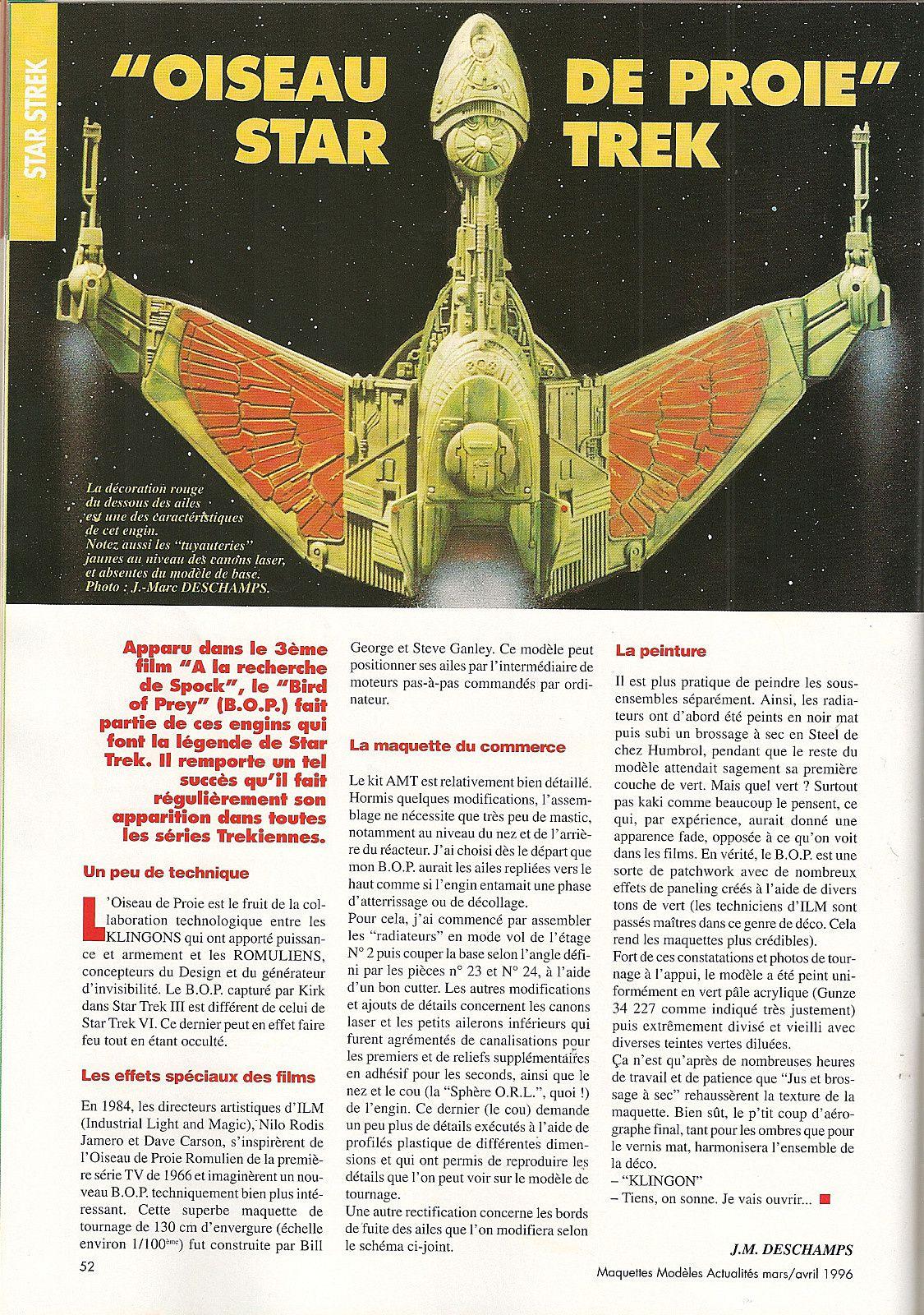 Star Treck  l'oiseau de proie vaisseau Klingon
