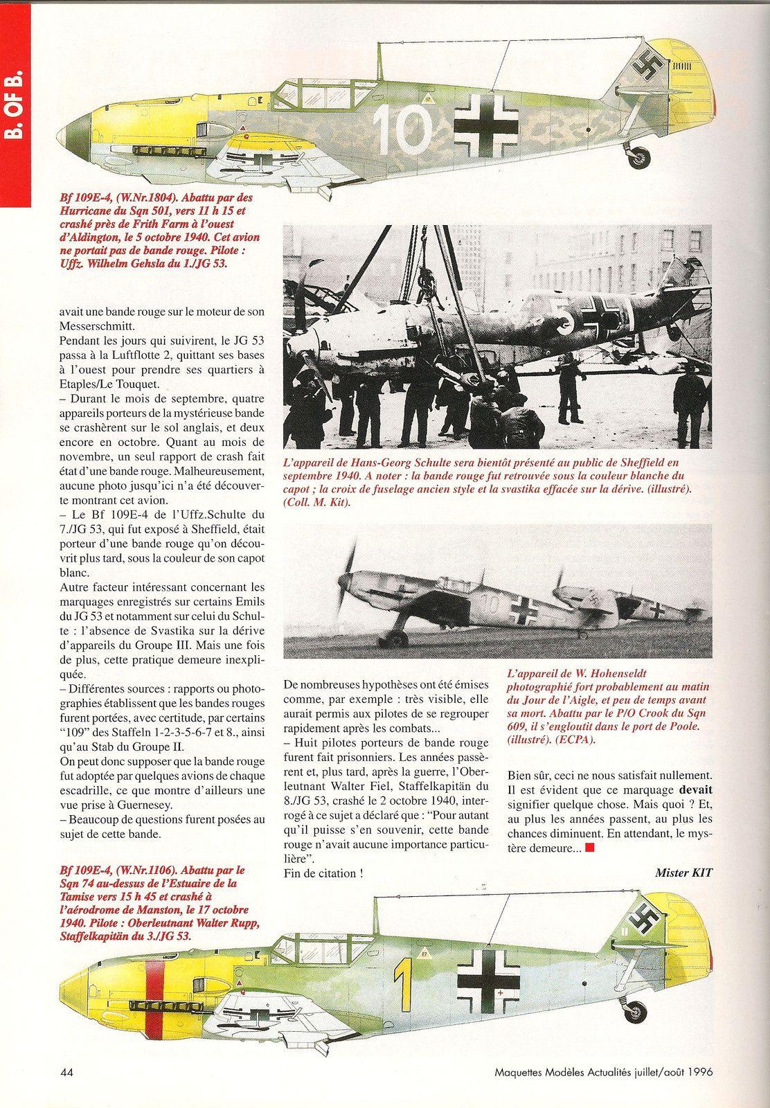 la Bataille d'Angleterre   la Mystérieuse bande rouge  du JG 53