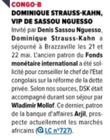 Annulation de la dette du Congo en 2010: Dominique Strauss Kahn poursuivi en France?