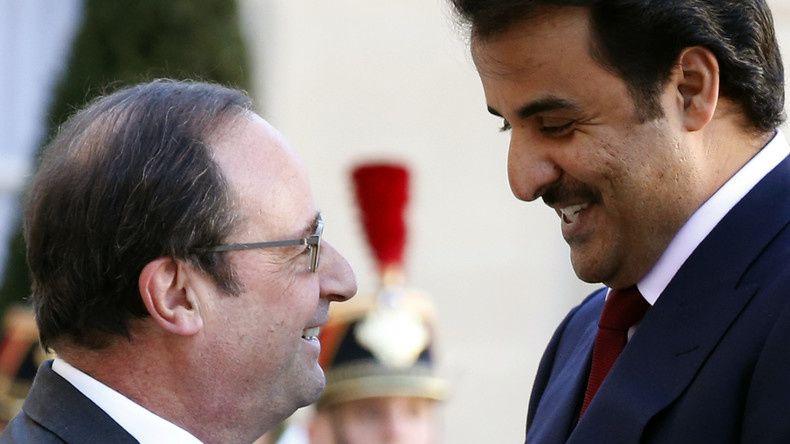 Source: Reuters Le président François Hollande accueille l'émir du Qatar Tamim ben Hamad Al Thani en février dernier