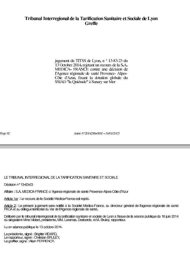 Medica France a perdu ses deux recours pour la révision de sa dotation pour ses deux établissements à Sanary (Le Rosaire et le SSIAD).