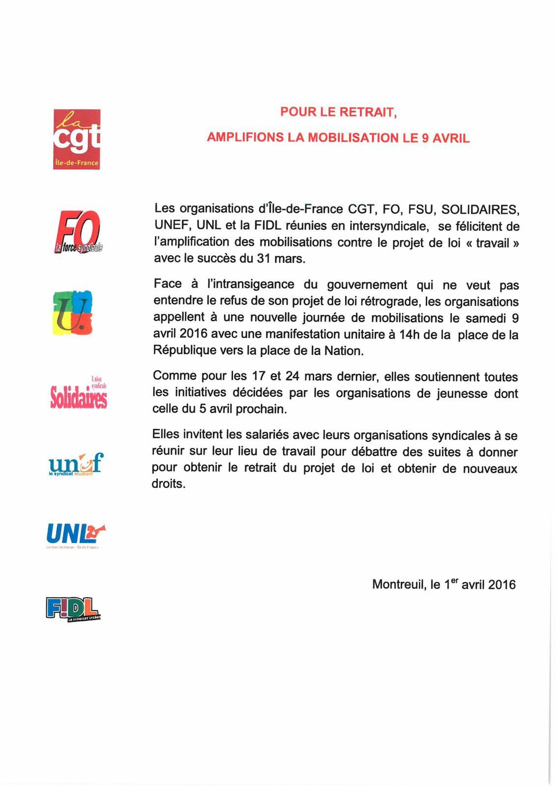 La CGT Korian appelle à la journée d'action du 9 avril.