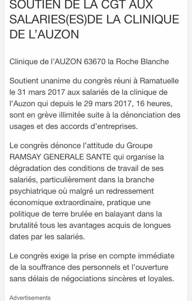 CGT générale de santé/Ramsay france: Grève à la clinique de l'Auzon.